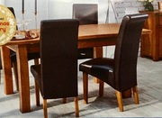 Elegant Dining Table and Four Chocolate Brown Faux Leather Chairs £100